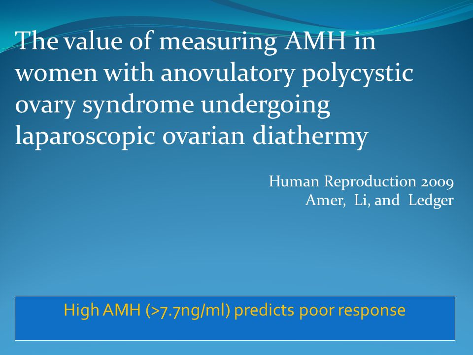 High AMH (>7.7ng/ml) predicts poor response