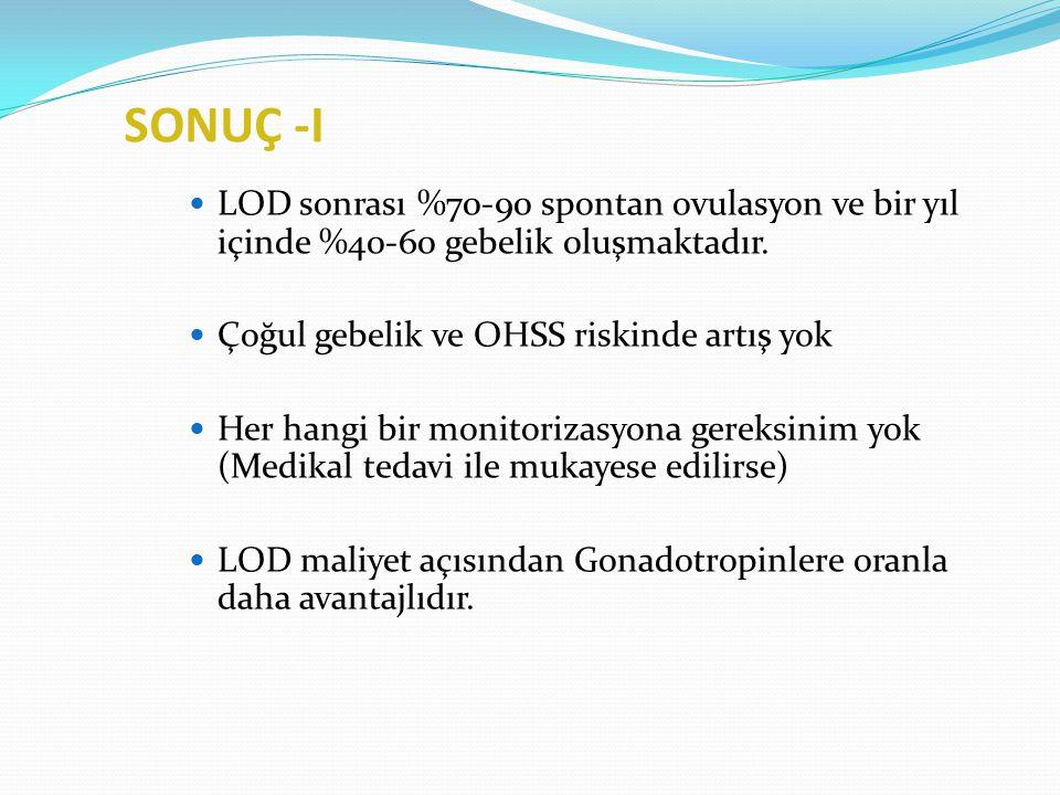 SONUÇ -I LOD sonrası %70-90 spontan ovulasyon ve bir yıl içinde %40-60 gebelik 0luşmaktadır. Çoğul gebelik ve OHSS riskinde artış yok.