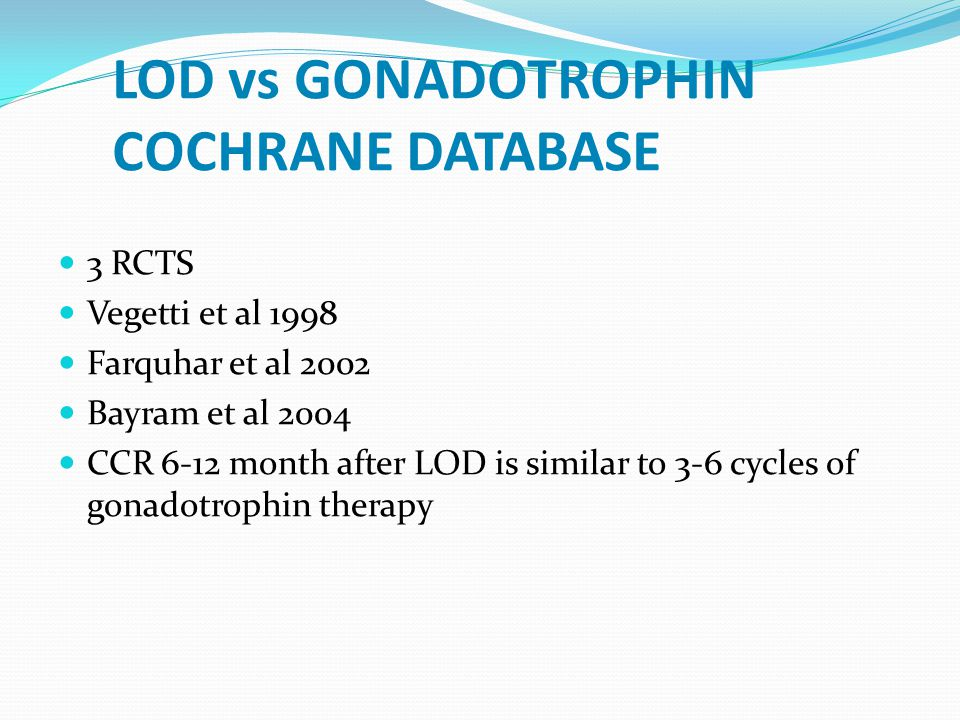 LOD vs GONADOTROPHIN COCHRANE DATABASE