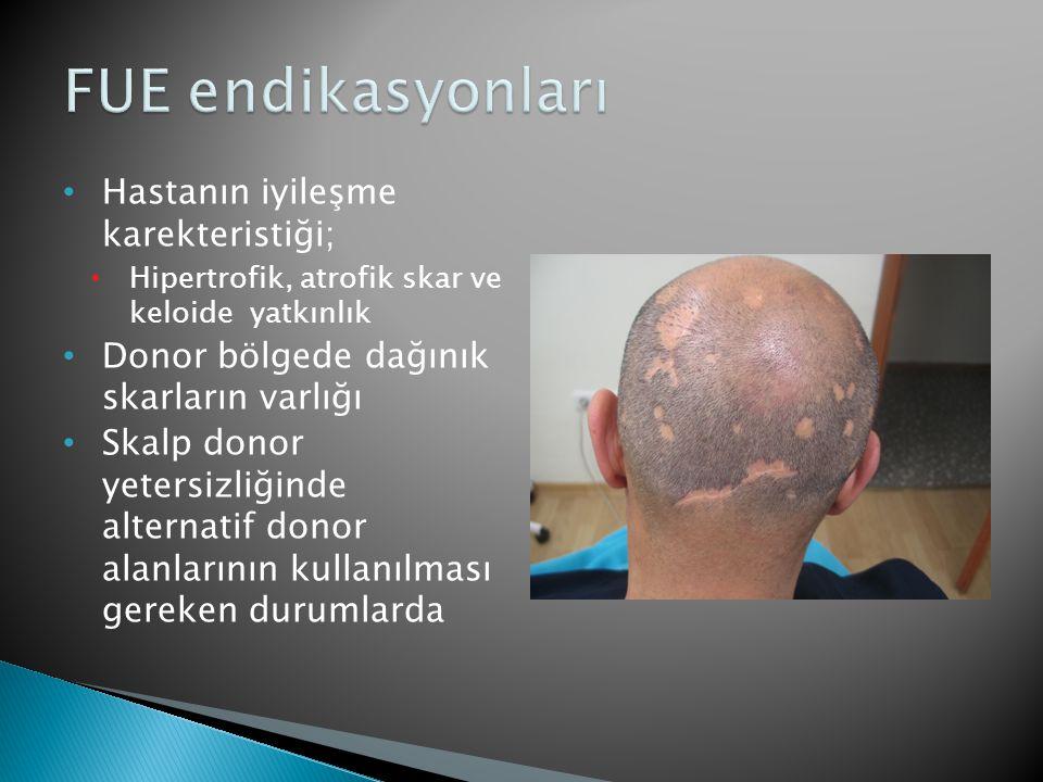 FUE endikasyonları Hastanın iyileşme karekteristiği;