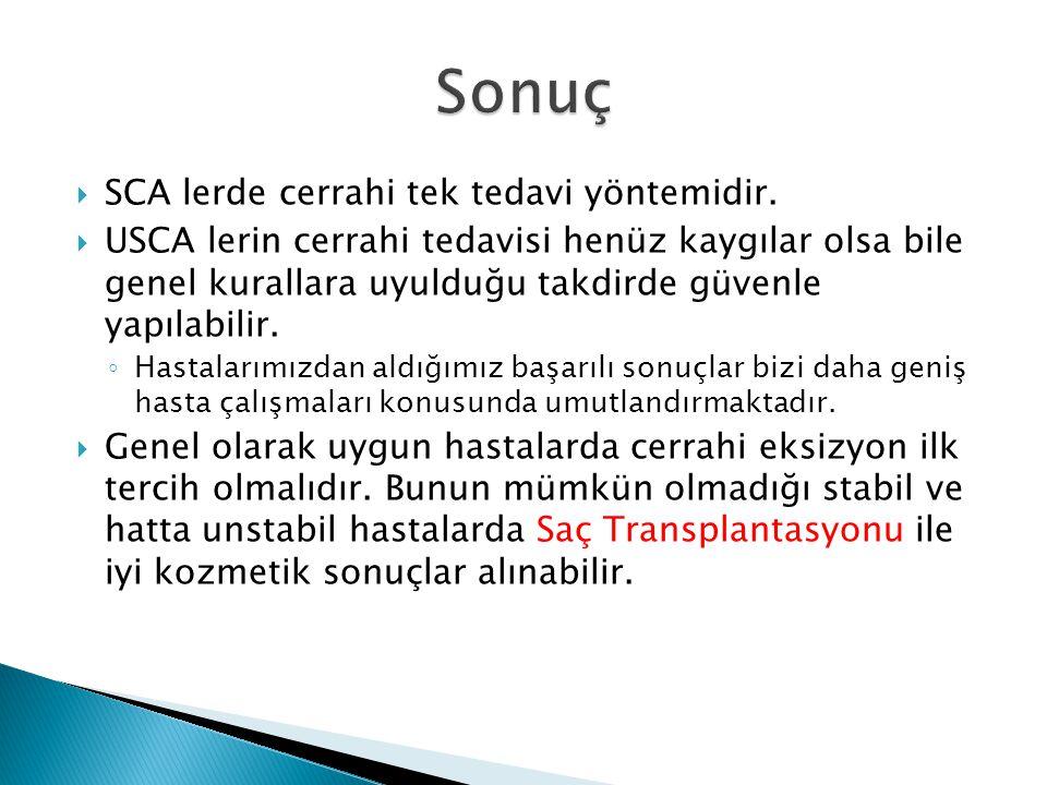 Sonuç SCA lerde cerrahi tek tedavi yöntemidir.