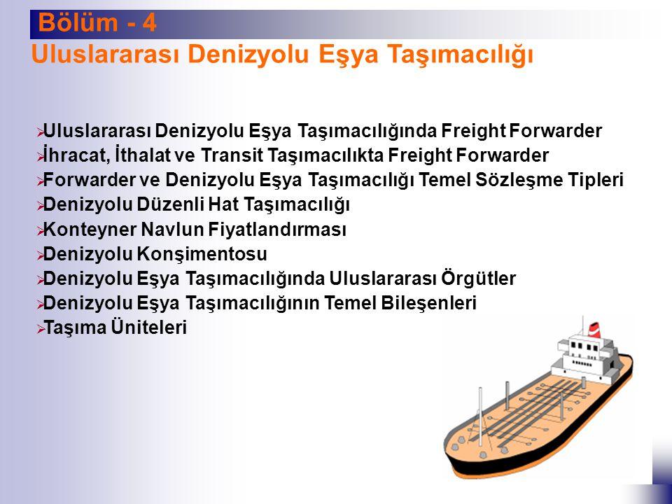Uluslararası Denizyolu Eşya Taşımacılığı