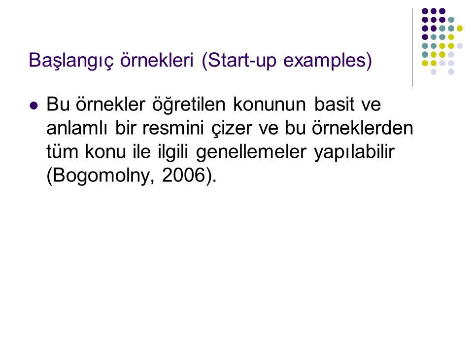 Başlangıç örnekleri (Start-up examples)