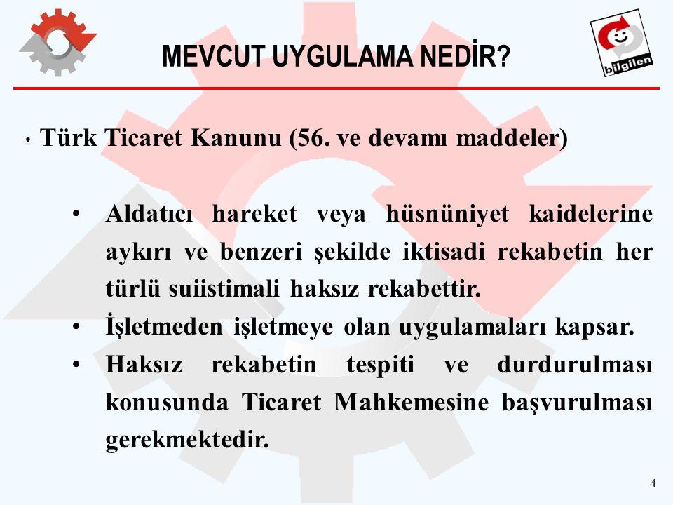 MEVCUT UYGULAMA NEDİR Türk Ticaret Kanunu (56. ve devamı maddeler)
