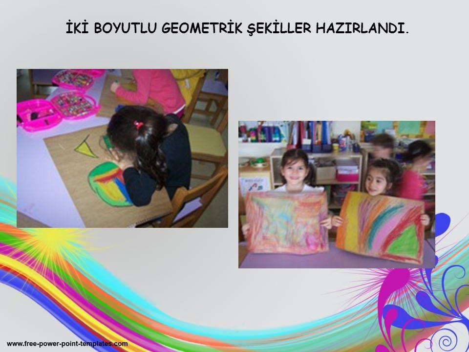 İKİ BOYUTLU GEOMETRİK ŞEKİLLER HAZIRLANDI.