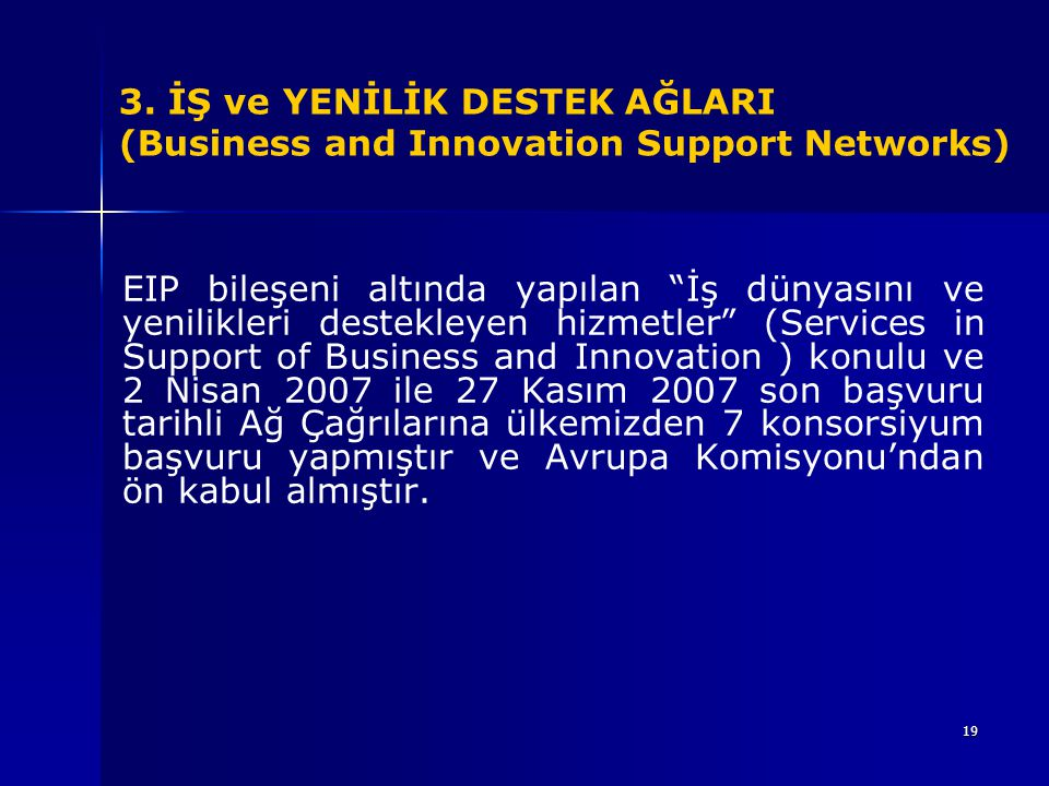 3. İŞ ve YENİLİK DESTEK AĞLARI (Business and Innovation Support Networks)