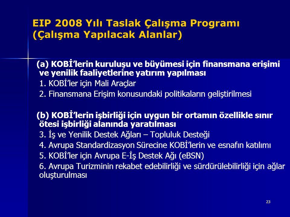 EIP 2008 Yılı Taslak Çalışma Programı (Çalışma Yapılacak Alanlar)