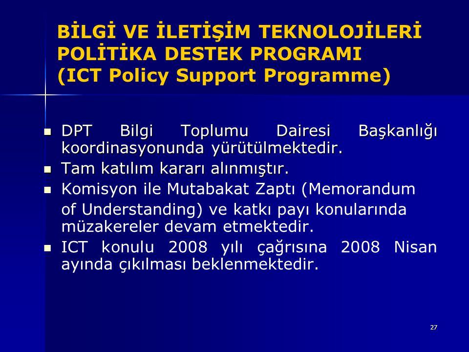 BİLGİ VE İLETİŞİM TEKNOLOJİLERİ POLİTİKA DESTEK PROGRAMI (ICT Policy Support Programme)