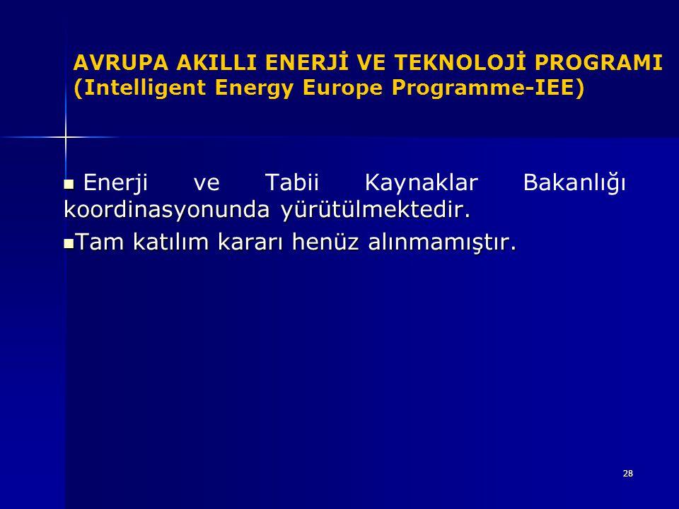 Enerji ve Tabii Kaynaklar Bakanlığı koordinasyonunda yürütülmektedir.