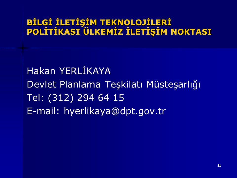 Devlet Planlama Teşkilatı Müsteşarlığı Tel: (312) 294 64 15