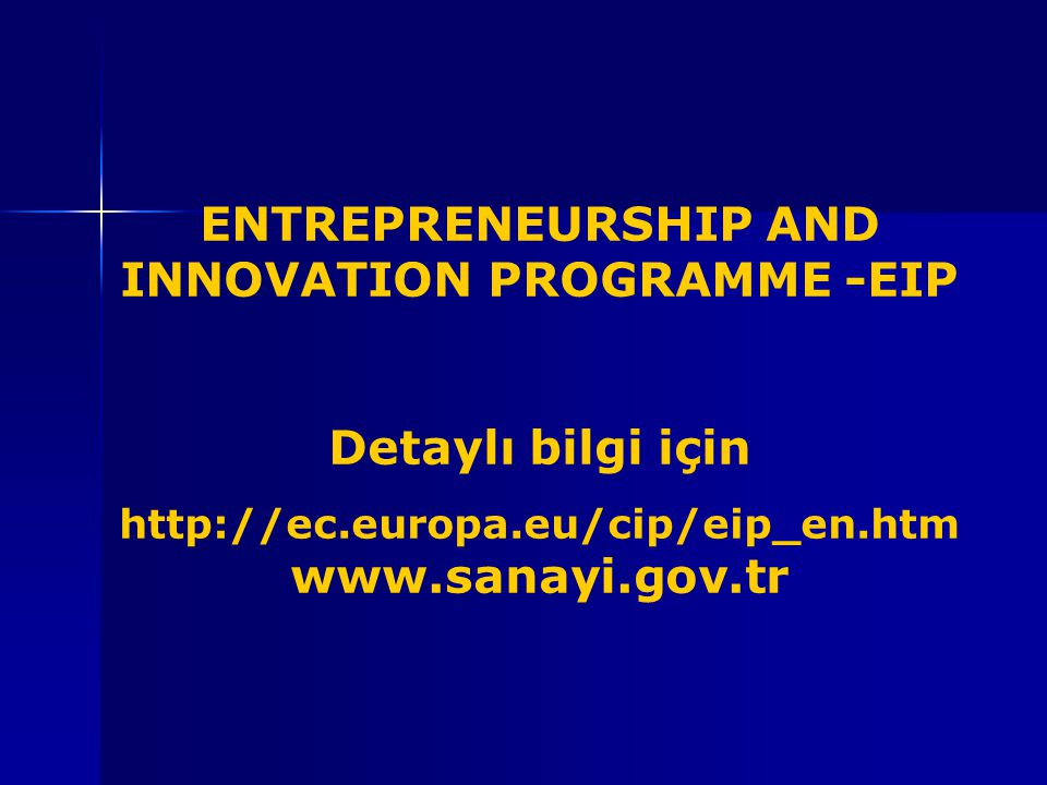 ENTREPRENEURSHIP AND INNOVATION PROGRAMME -EIP
