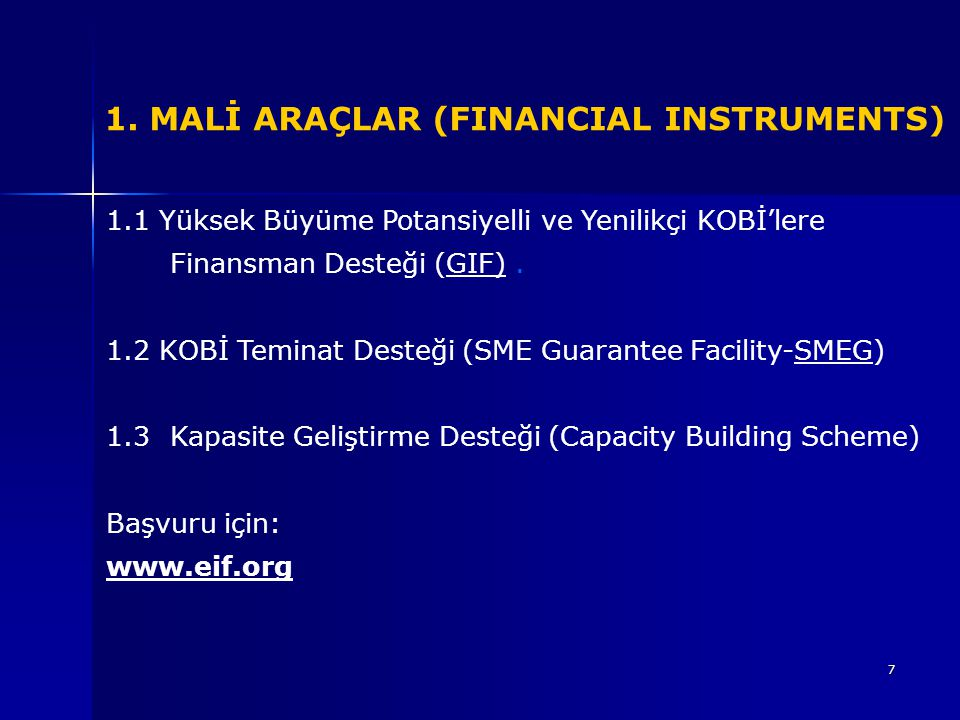 1. MALİ ARAÇLAR (FINANCIAL INSTRUMENTS)