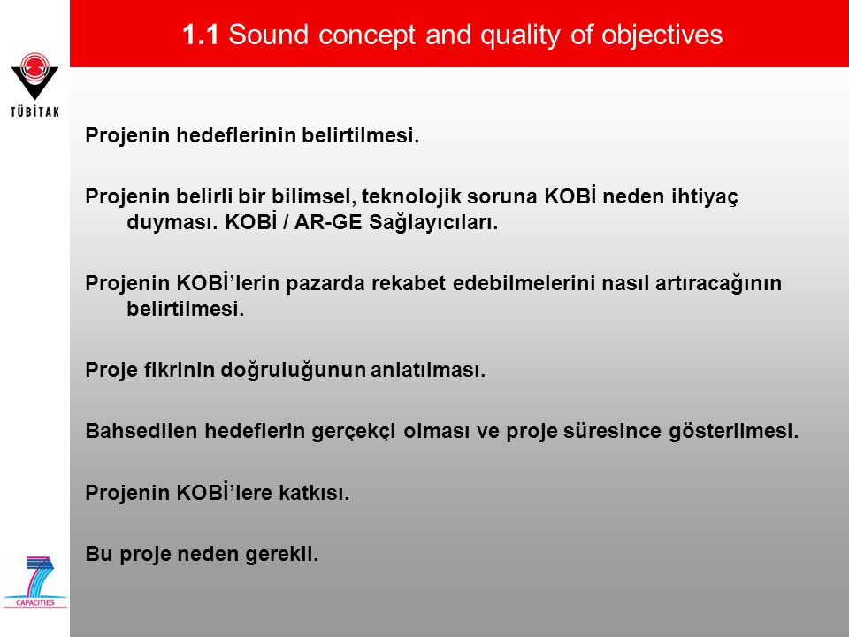 1.1 Sound concept and quality of objectives