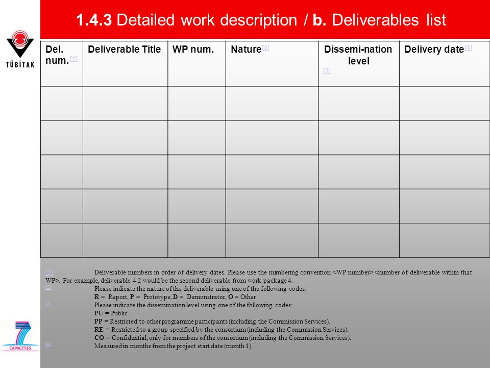 1.4.3 Detailed work description / b. Deliverables list