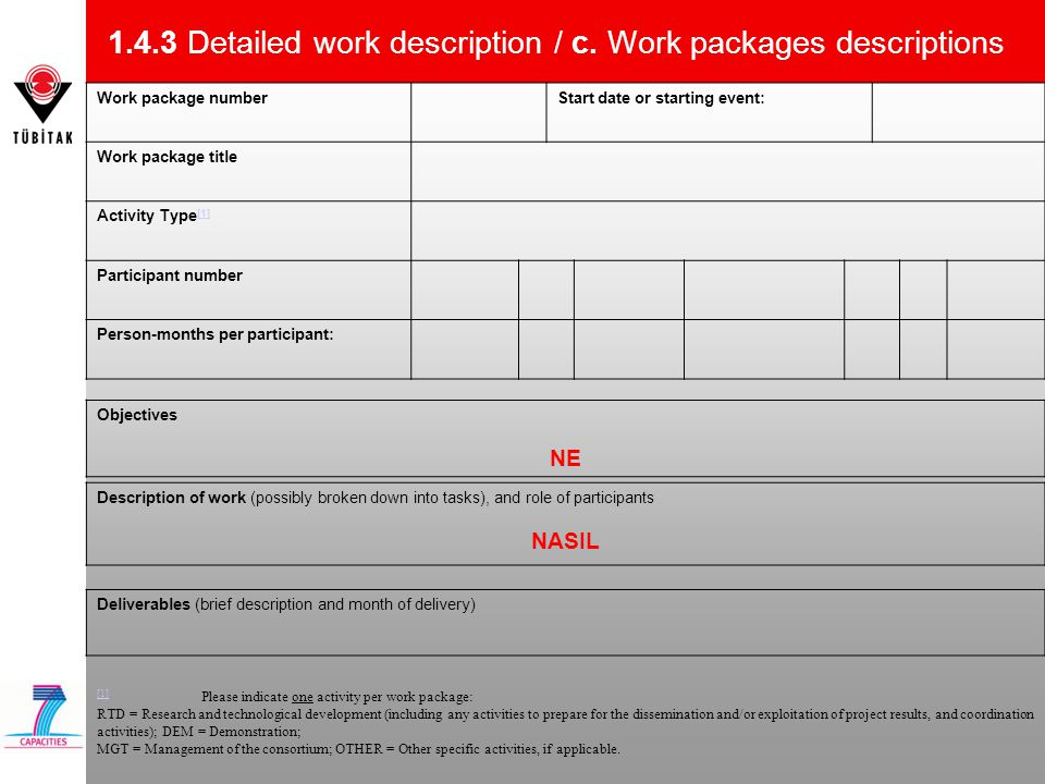 1.4.3 Detailed work description / c. Work packages descriptions