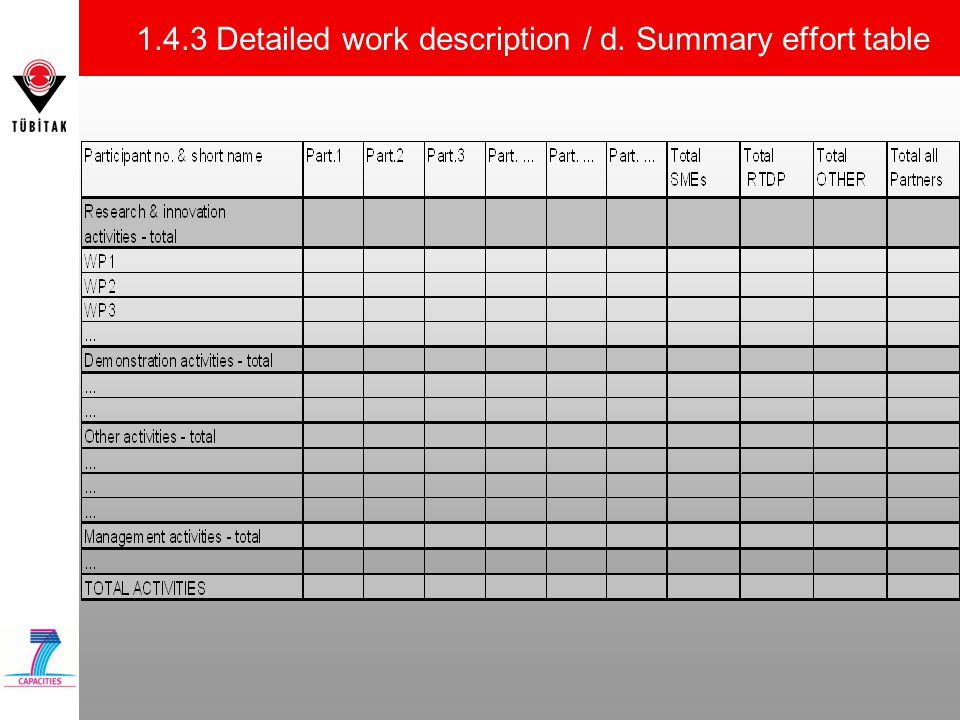 1.4.3 Detailed work description / d. Summary effort table