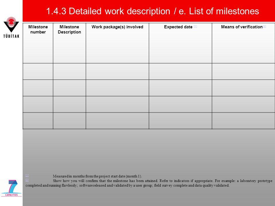 1.4.3 Detailed work description / e. List of milestones