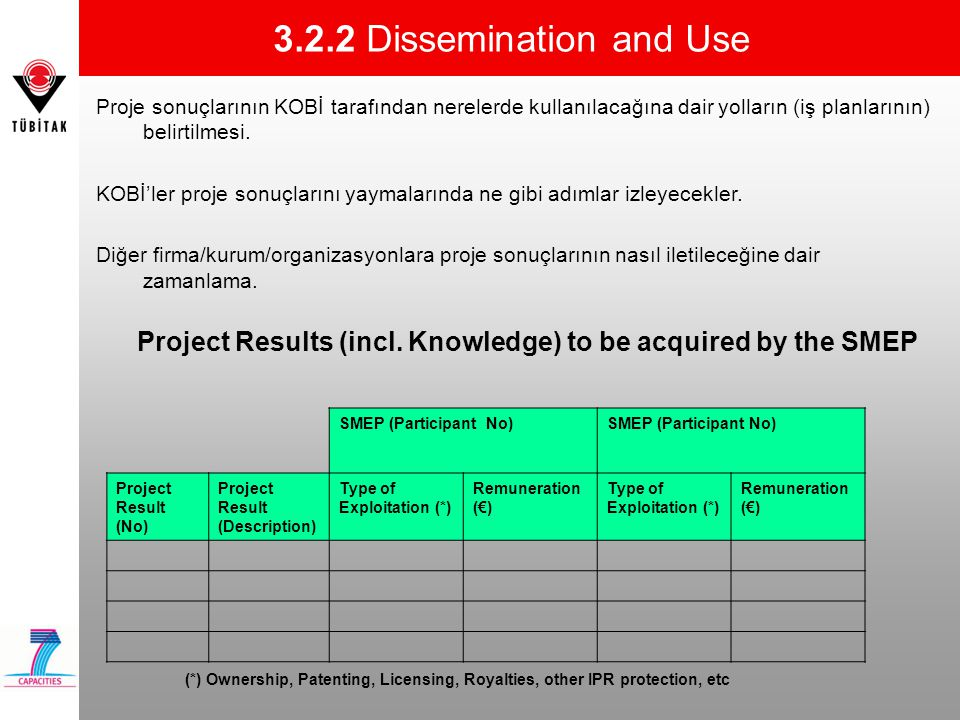 Project Results (incl. Knowledge) to be acquired by the SMEP