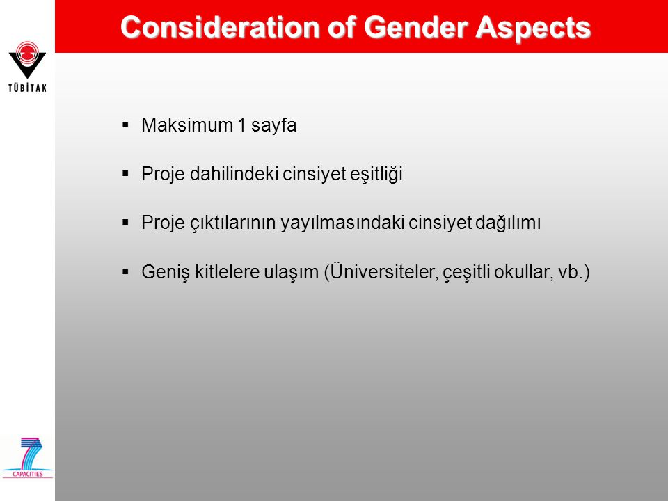 Consideration of Gender Aspects