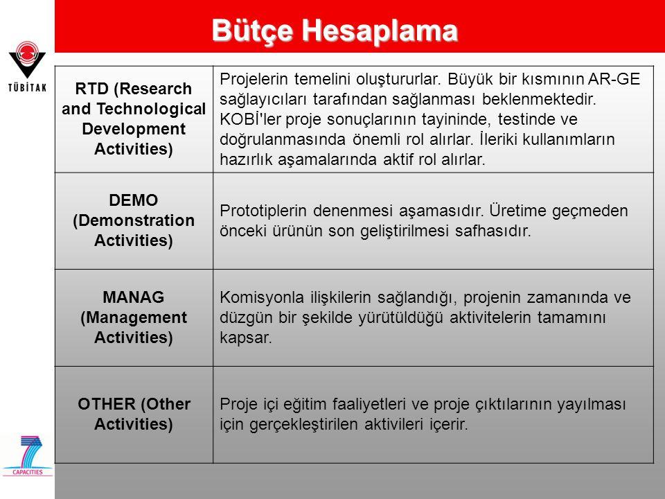 Bütçe Hesaplama RTD (Research and Technological Development Activities)