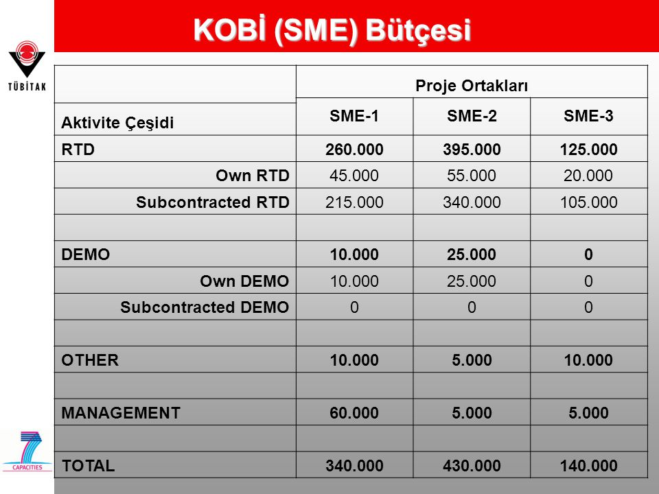 KOBİ (SME) Bütçesi Proje Ortakları SME-1 SME-2 SME-3 Aktivite Çeşidi