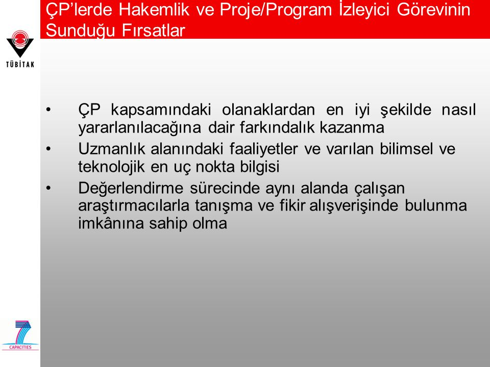 ÇP'lerde Hakemlik ve Proje/Program İzleyici Görevinin Sunduğu Fırsatlar