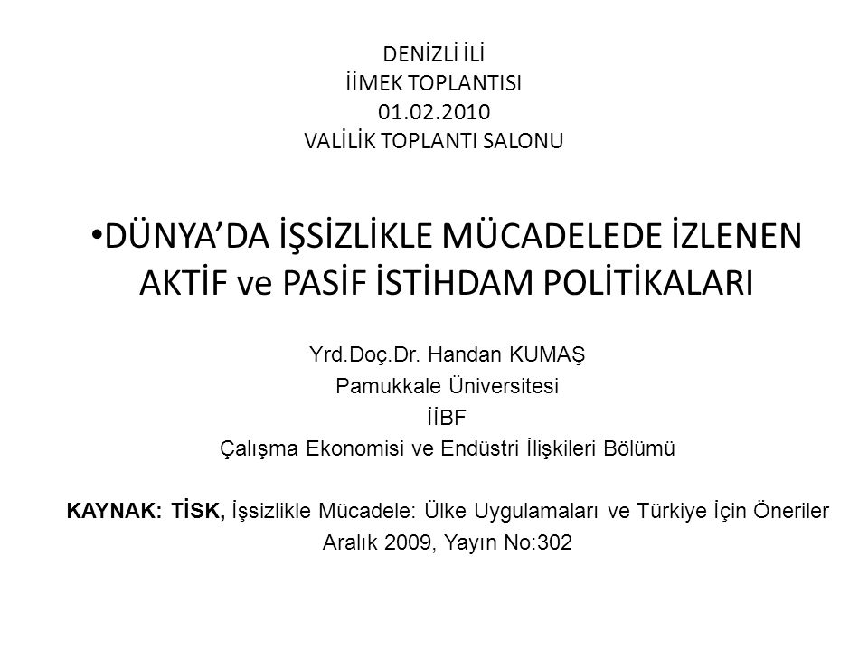 DENİZLİ İLİ İİMEK TOPLANTISI 01.02.2010 VALİLİK TOPLANTI SALONU