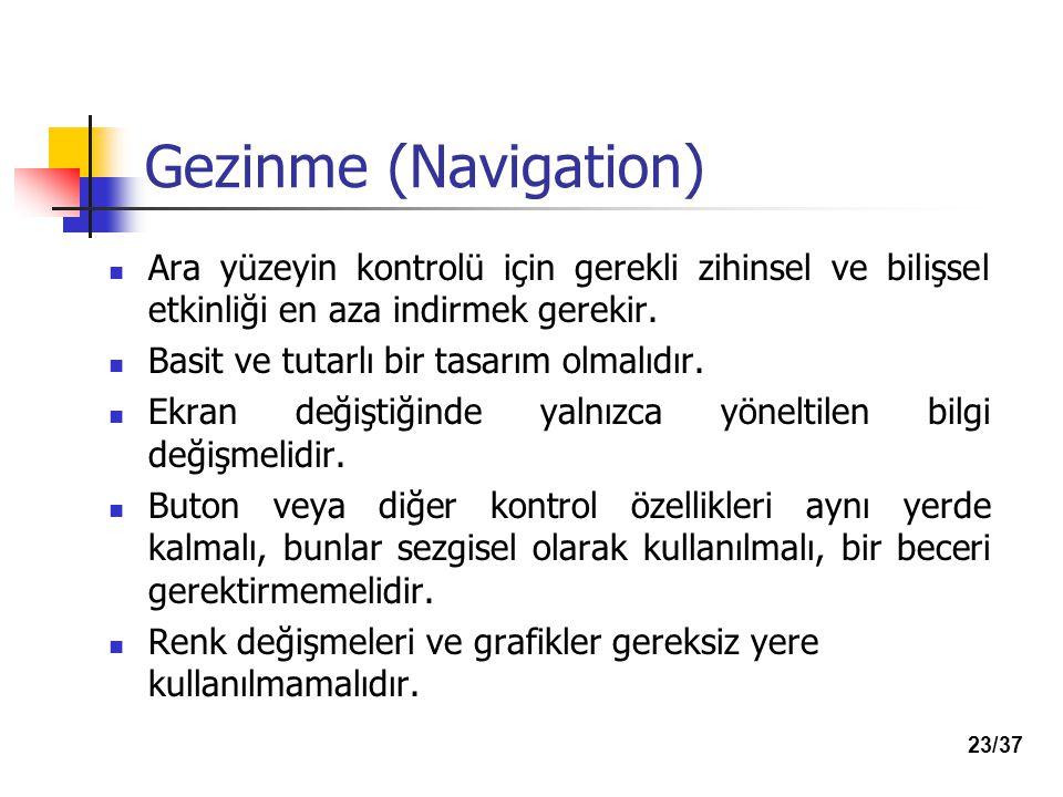 Gezinme (Navigation) Ara yüzeyin kontrolü için gerekli zihinsel ve bilişsel etkinliği en aza indirmek gerekir.
