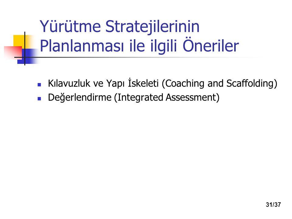 Yürütme Stratejilerinin Planlanması ile ilgili Öneriler