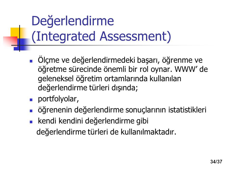 Değerlendirme (Integrated Assessment)