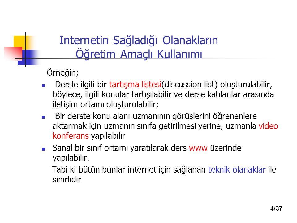 Internetin Sağladığı Olanakların Öğretim Amaçlı Kullanımı