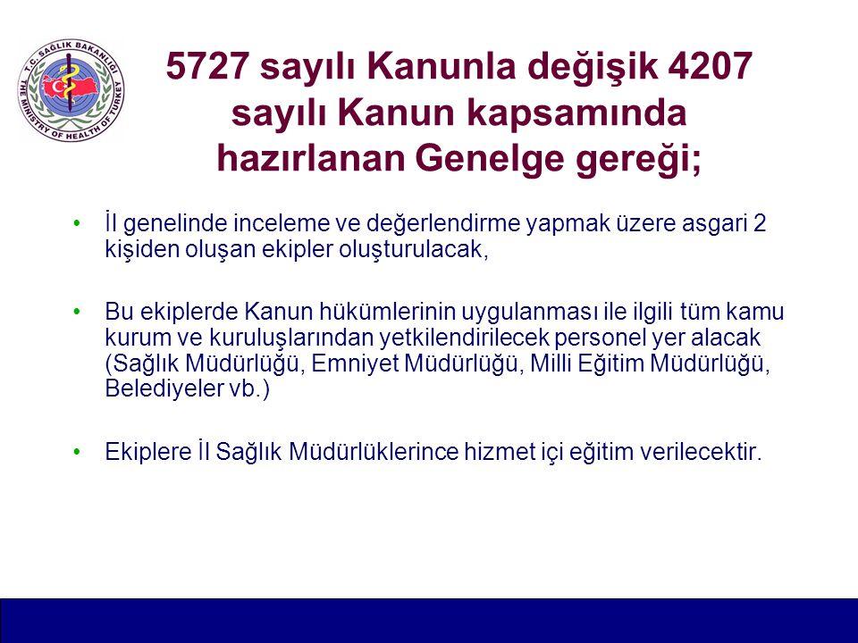 5727 sayılı Kanunla değişik 4207 sayılı Kanun kapsamında hazırlanan Genelge gereği;