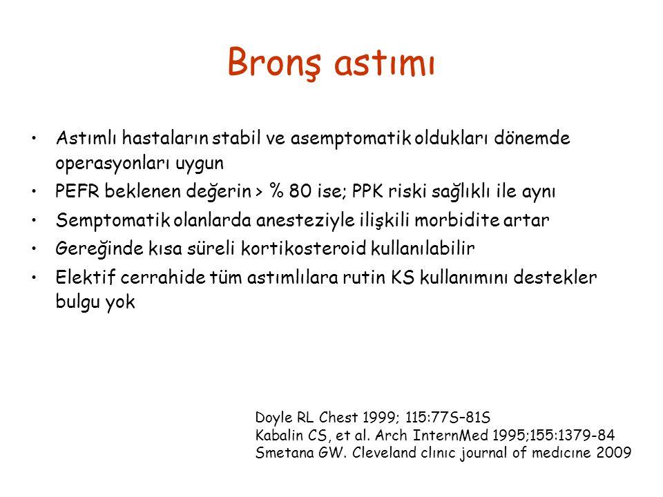 Bronş astımı Astımlı hastaların stabil ve asemptomatik oldukları dönemde operasyonları uygun.