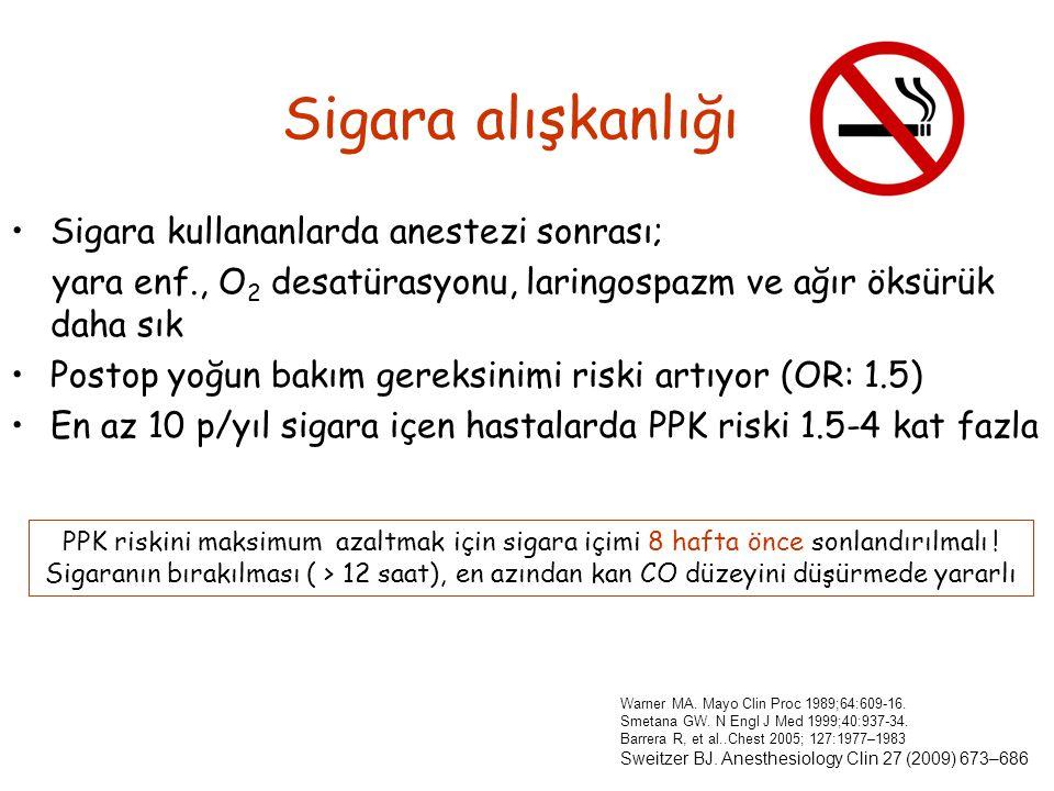 Sigara alışkanlığı Sigara kullananlarda anestezi sonrası;