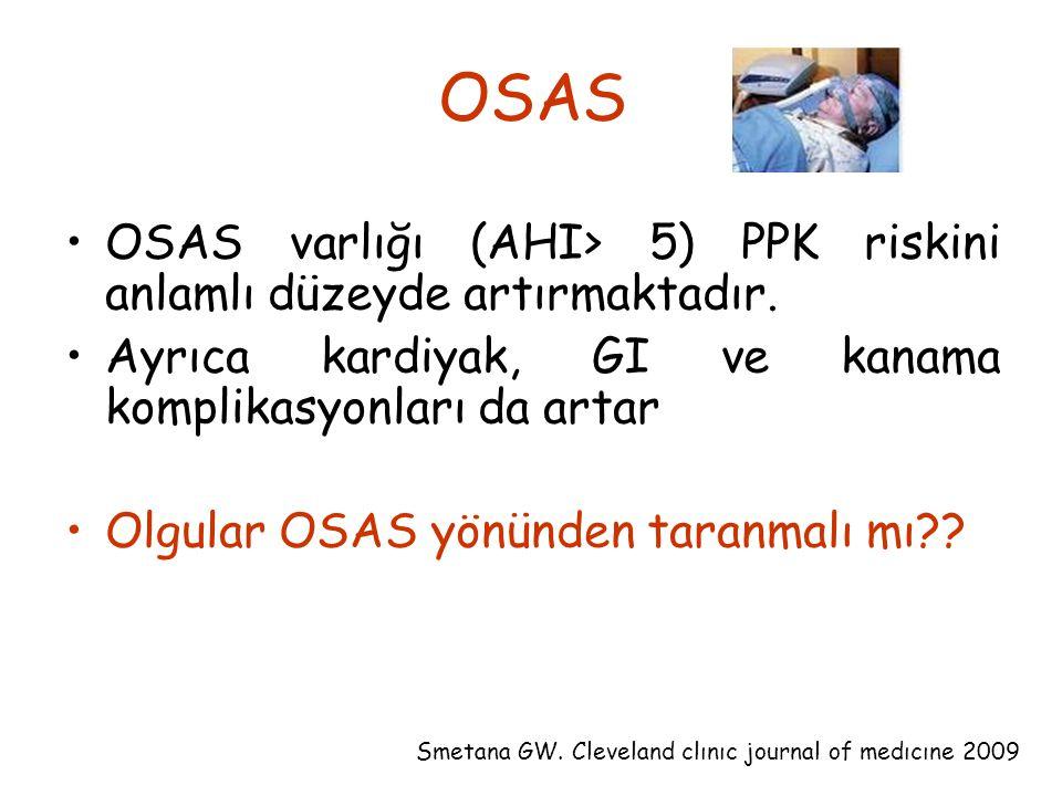 OSAS OSAS varlığı (AHI> 5) PPK riskini anlamlı düzeyde artırmaktadır. Ayrıca kardiyak, GI ve kanama komplikasyonları da artar.
