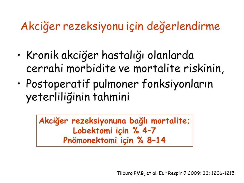 Akciğer rezeksiyonuna bağlı mortalite;