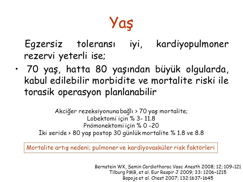 Yaş Egzersiz toleransı iyi, kardiyopulmoner rezervi yeterli ise;