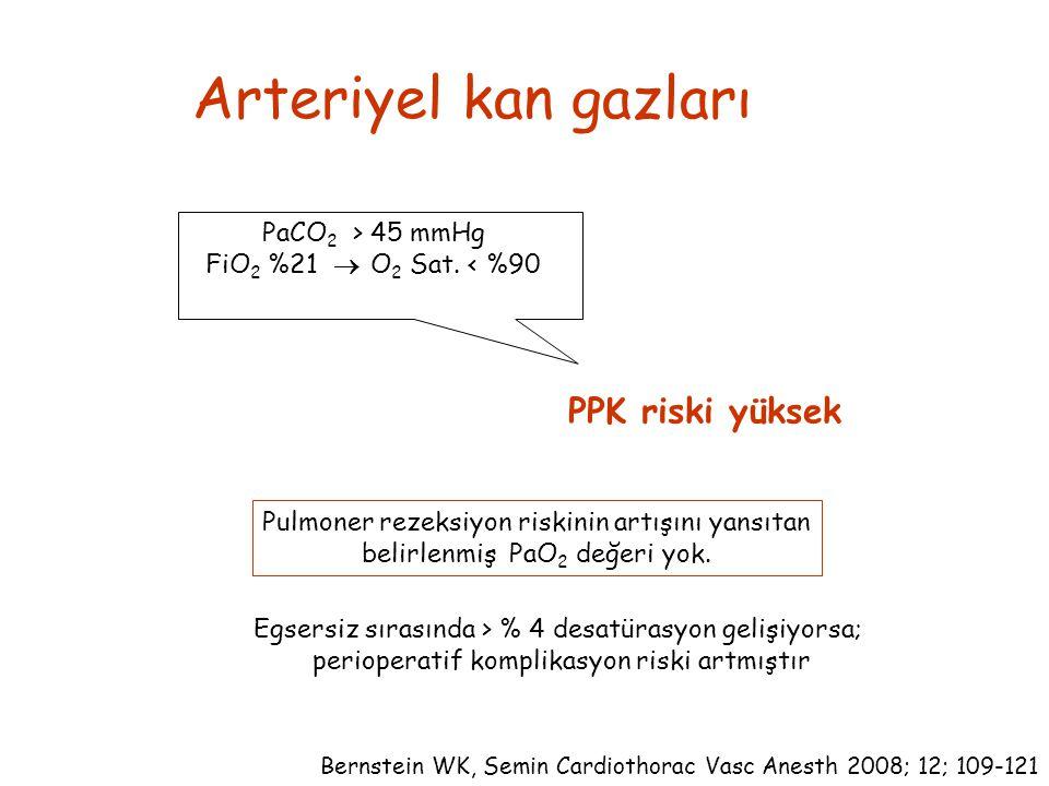 Arteriyel kan gazları PPK riski yüksek PaCO2 > 45 mmHg
