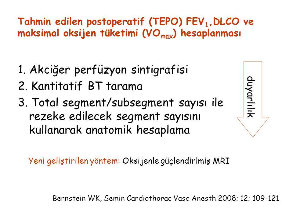 1. Akciğer perfüzyon sintigrafisi 2. Kantitatif BT tarama