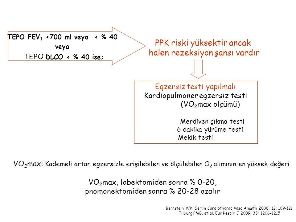 TEPO FEV1 <700 ml veya < % 40
