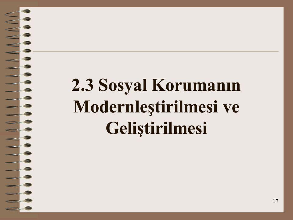 2.3 Sosyal Korumanın Modernleştirilmesi ve Geliştirilmesi