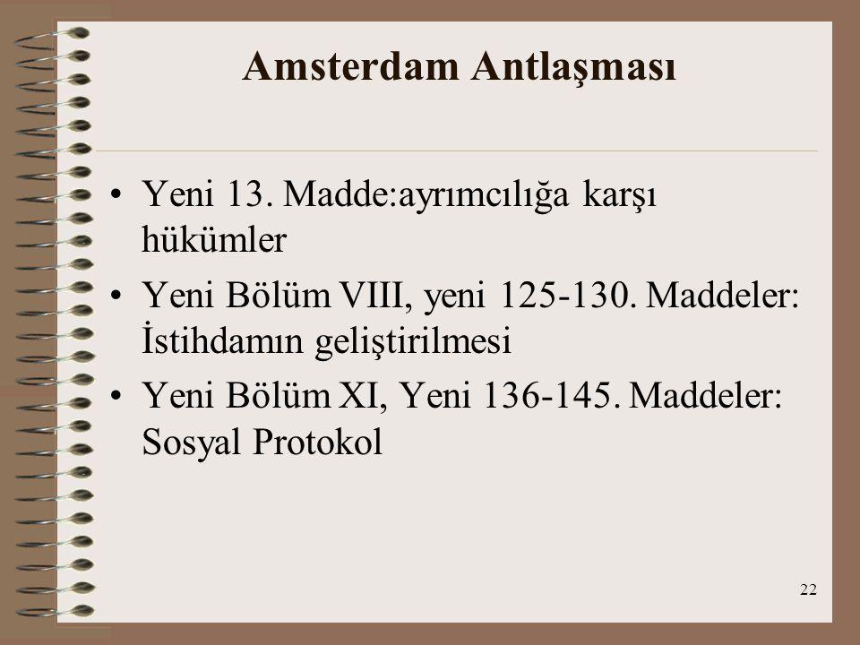 Amsterdam Antlaşması Yeni 13. Madde:ayrımcılığa karşı hükümler