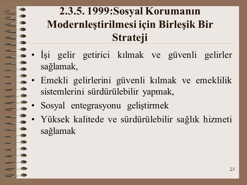 2.3.5. 1999:Sosyal Korumanın Modernleştirilmesi için Birleşik Bir Strateji