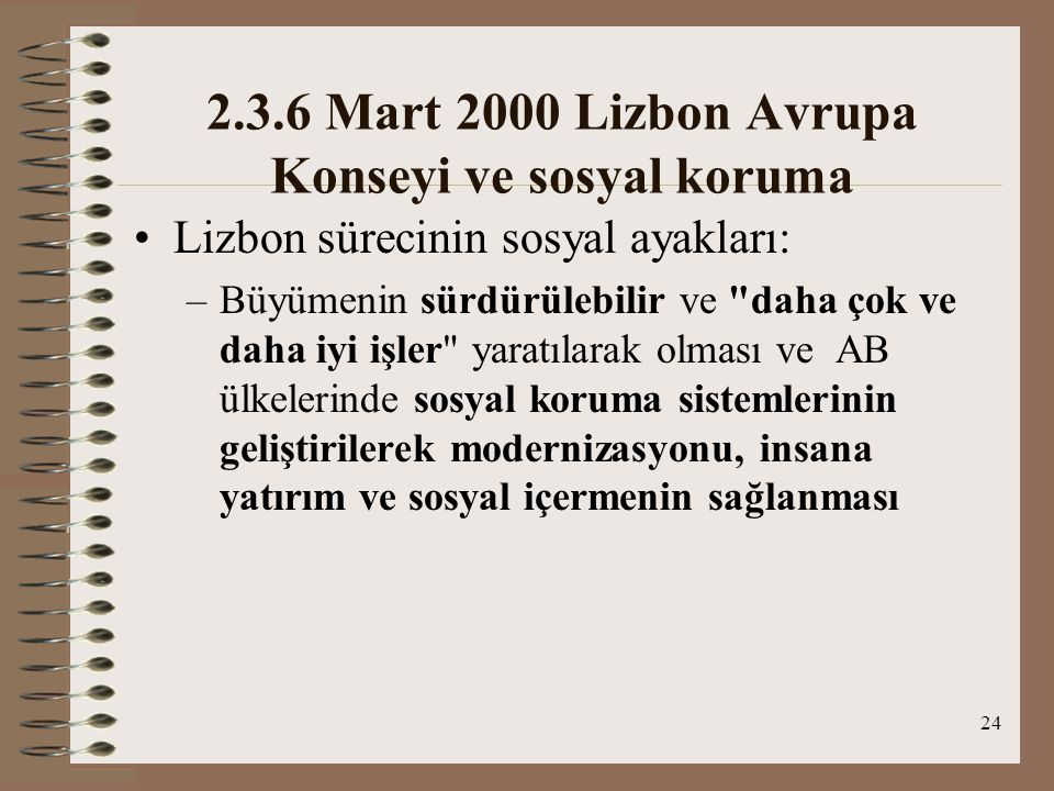 2.3.6 Mart 2000 Lizbon Avrupa Konseyi ve sosyal koruma