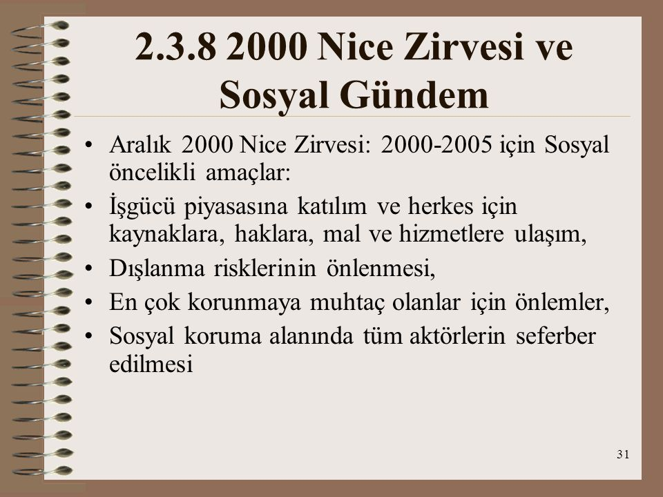 2.3.8 2000 Nice Zirvesi ve Sosyal Gündem