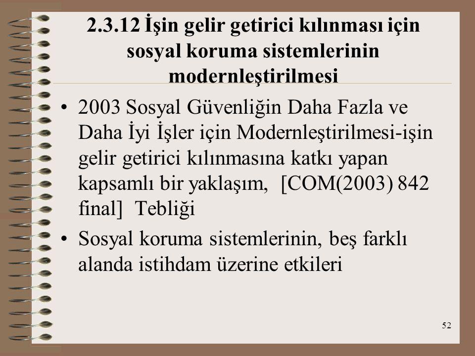 2.3.12 İşin gelir getirici kılınması için sosyal koruma sistemlerinin modernleştirilmesi