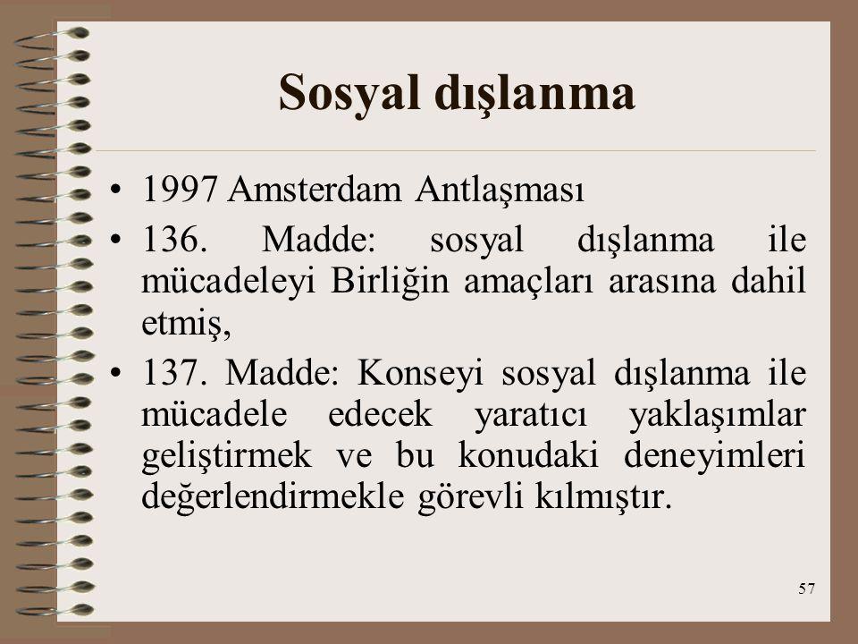 Sosyal dışlanma 1997 Amsterdam Antlaşması