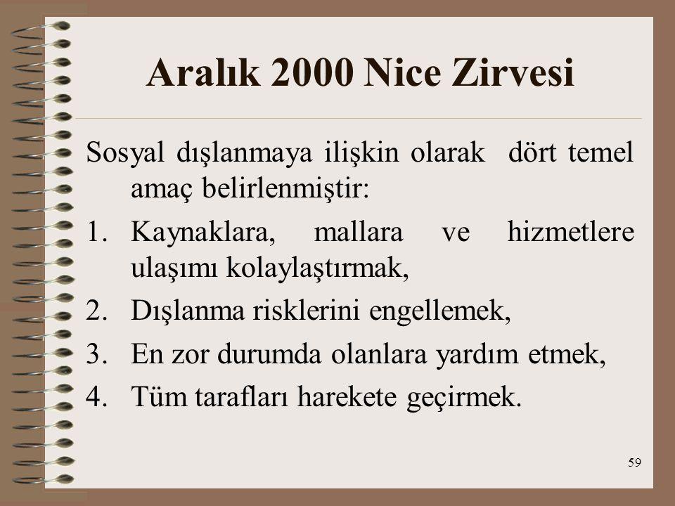 Aralık 2000 Nice Zirvesi Sosyal dışlanmaya ilişkin olarak dört temel amaç belirlenmiştir: Kaynaklara, mallara ve hizmetlere ulaşımı kolaylaştırmak,