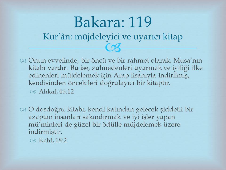 Bakara: 119 Kur'ân: müjdeleyici ve uyarıcı kitap