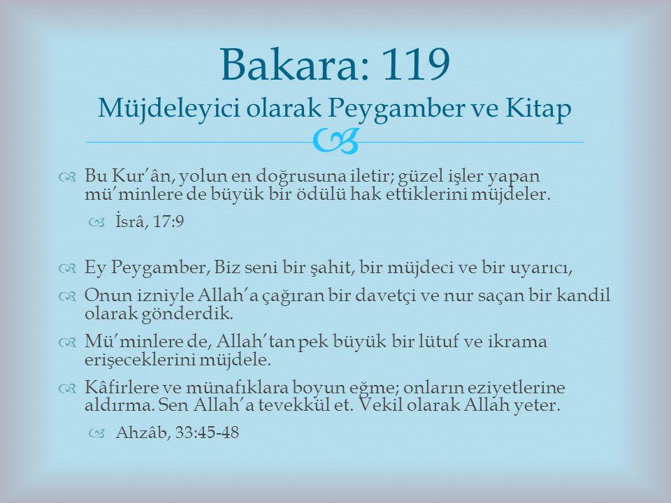 Bakara: 119 Müjdeleyici olarak Peygamber ve Kitap